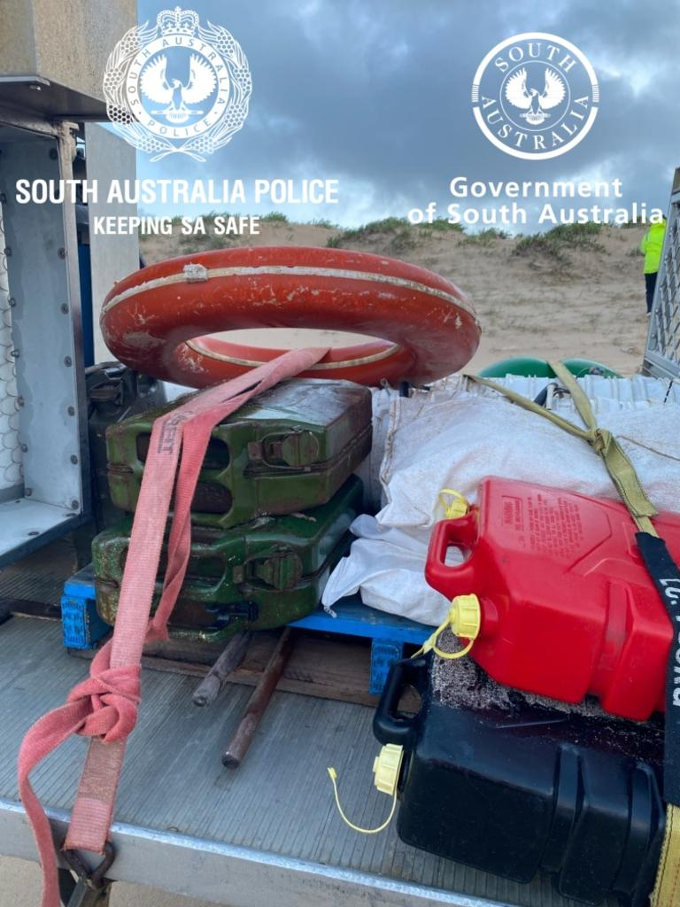 Debris found by fishermen near the Murray Mouth this morning. Picture: SAPOL
