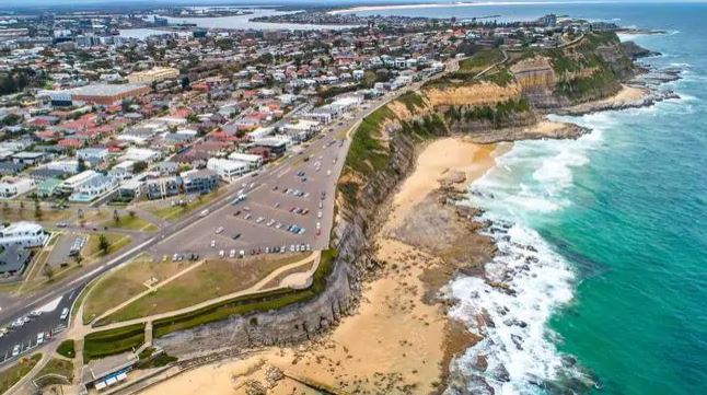 The car park and cliff at Bar Beach, Newcastle on a normal day..Source:Supplied