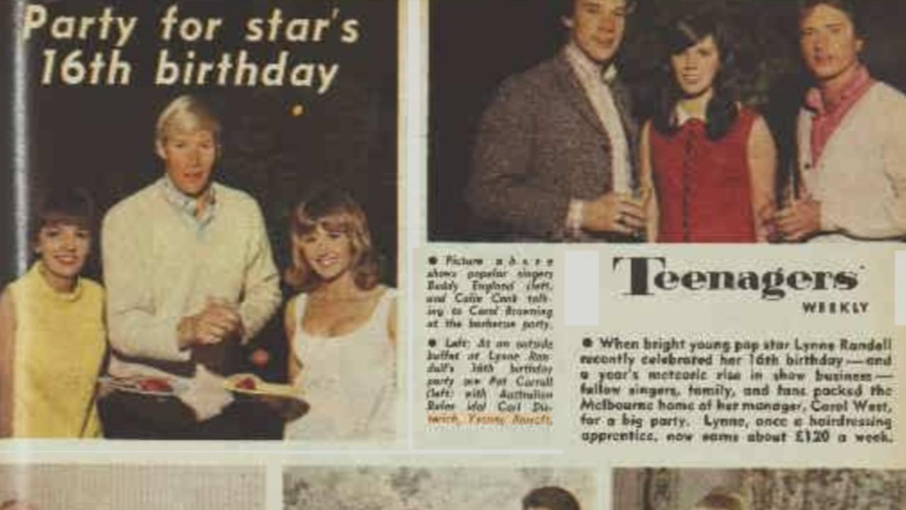 Just weeks after arriving back in Melbourne from Vietnam, Yvonne Barrett (top left image, right) was pictured with Pat Carroll and St Kilda ruckman Carl Ditterich in an Australian Women's Weekly in February 1966 on the 16th birthday party for singer Lynne Randell. Other stars who attended include Olivia Newton-John and Ian Turpie. Picture: National Library of Australia