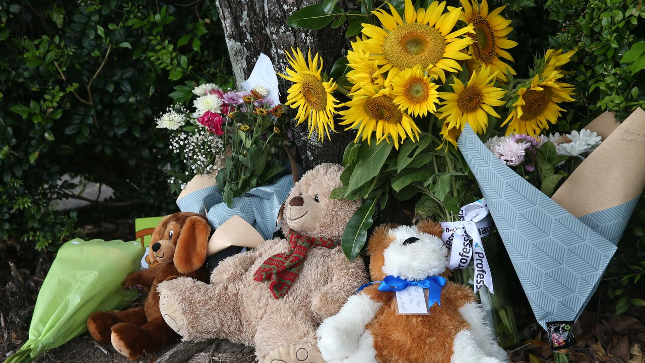 Members of the public have laid flowers and left teddies at the Goodstart Early Learning Centre, Edmonton, following the tragic death of a boy, 3, left in a minibus. PICTURE: BRENDAN RADKE