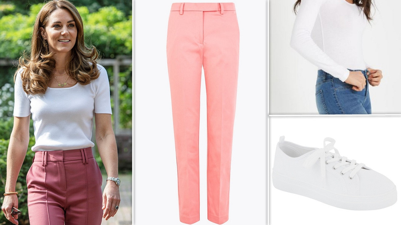 Look one: Pink pants and white shirt. Marks and Spencer pants ($55), Cotton On white top (on sale for $5) and Kmart sneakers ($8).