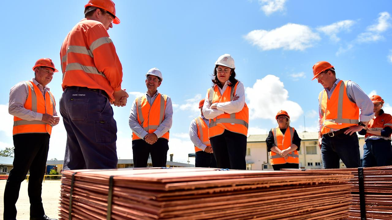 Queensland Annastacia Palaszczuk in Townsville at Glencore Copper Refinery to announce the governmentÕs North Queensland Recovery Plan. Pictured with Treasurer Cameron Dick and CPL employees. Picture: Alix Sweeney