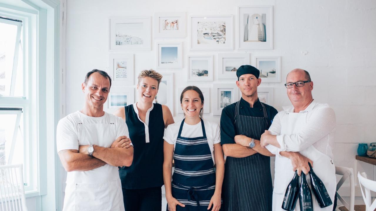 Mark Wilson, Abigail Duncan, Lia Mason, Ben Jones and Lee Middendorf at Taverna in Kingscliff
