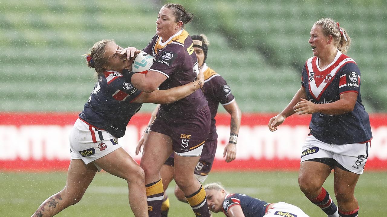 Steph Hancock playing for the Broncos in last year's NRLW competition. Picture: Daniel Pockett/Getty Images.