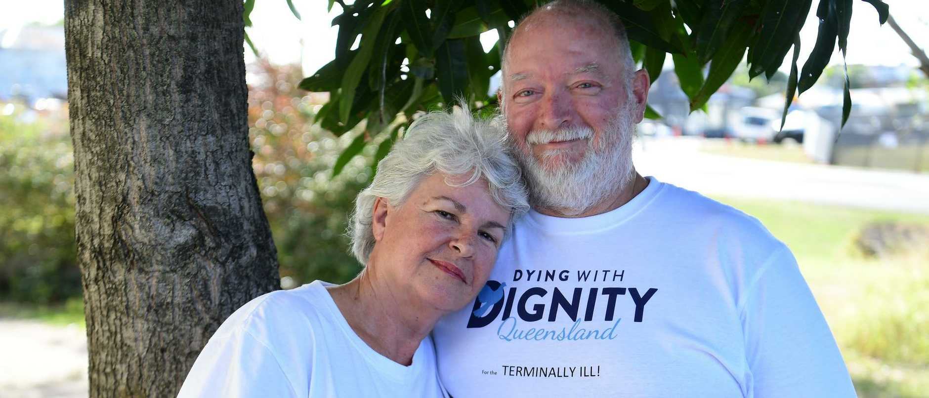 Moya Jackson and her husband Mark Herron have been pushing to get voluntary assisted dying legalised in Queensland for many years, but the passionate advocates had their world turned upside down when Moya received a devastating diagnosis. Picture: Mike Knott.