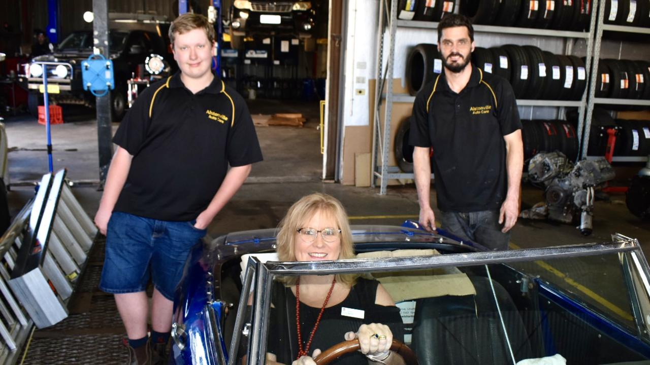 From left, Alstonville High student Tyson Dalziel, mentor Toni Bellos and manager of Alstonville Auto care Richard Flounders.