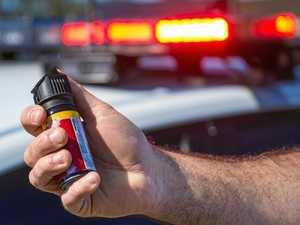 Man capsicum sprayed after throwing wardrobe at police