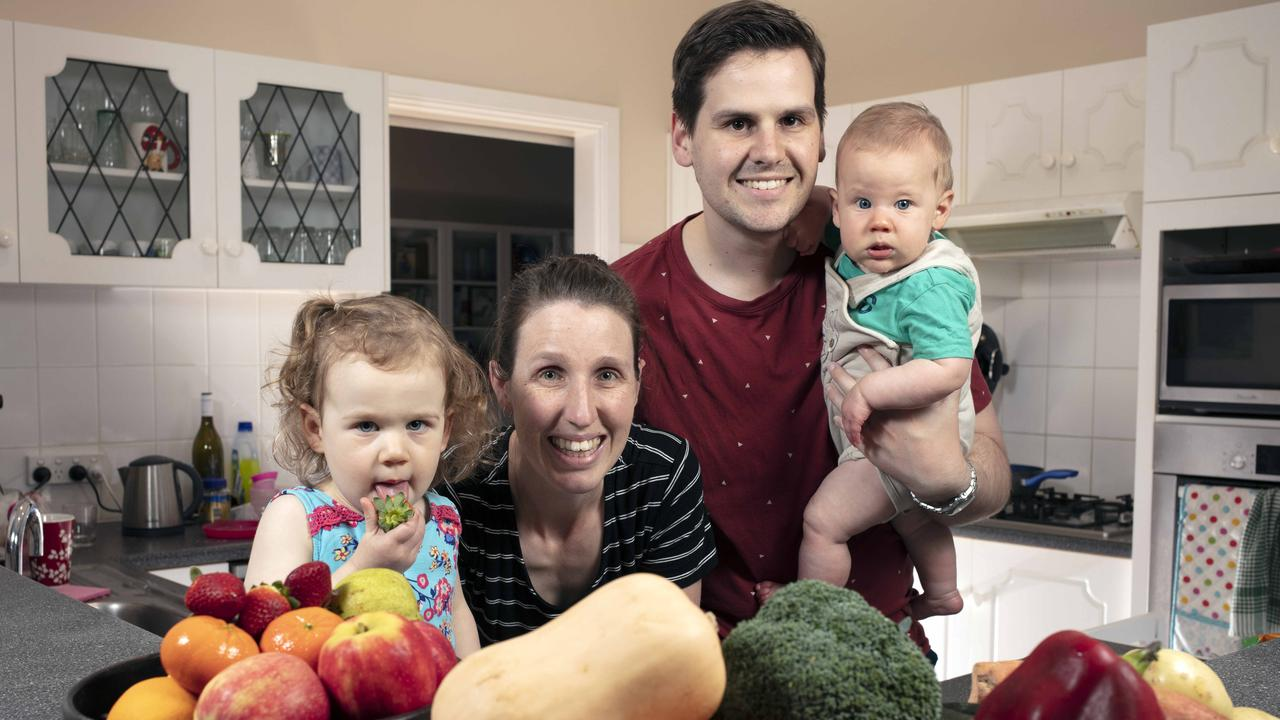 The Enright Family love their fresh fruit and vegetables. Shane and Kerry with loads of produce for them and their children Charlotte, 2, and Daniel, 7 months. Picture: Emma Brasier.