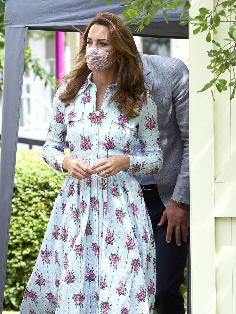 Look three: Long-sleeved, blue floral dress …