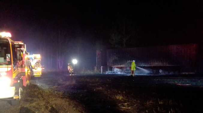 Third grass fire in as many days destroys shed, caravan near Kingaroy