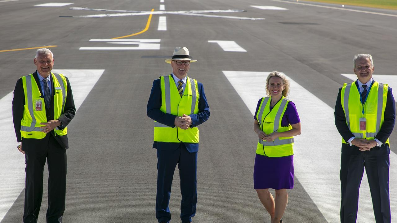 Sunshine Coast Airport Expansion Project Director Ross Ullman, Mayor Mark Jamieson, Tourism Minister Kate Jones and Sunshine Coast Airport chief executive Andrew Brodie.