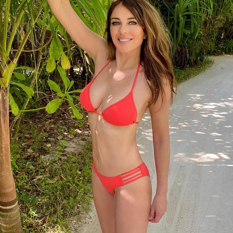 Liz Hurley, 55, has sworn off sunbathing after seeing friends battle skin cancer. Picture: Instagram/ElizabethHurley