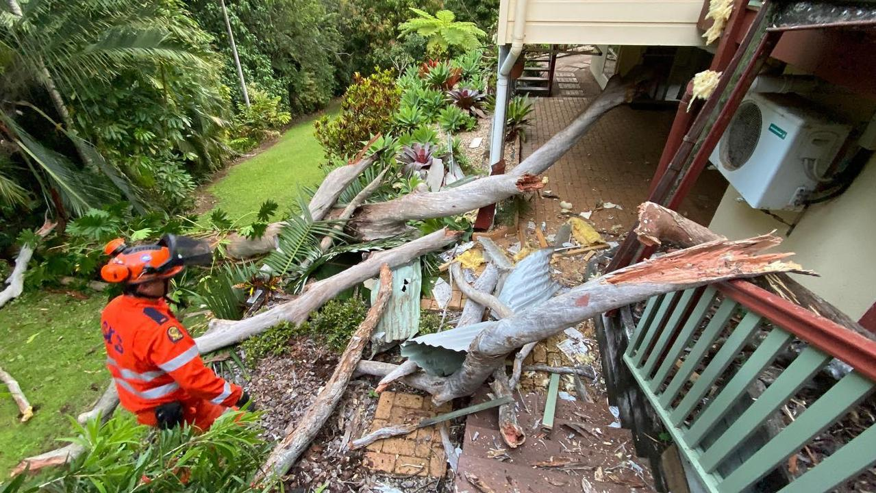Nambour and District State Emergency Service volunteers were called to a Rosemount property after a dead tree smashed through its roof.