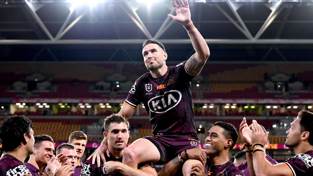 Darius Boyd is chaired off Suncorp in his last game. Picture: Bradley Kanaris/Getty