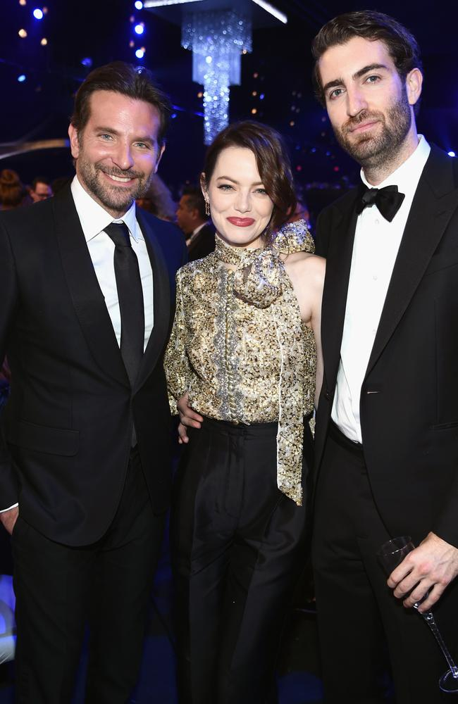 Bradley Cooper, Emma Stone and Dave McCary in 2019. Picture: Dimitrios Kambouris/Getty Images for Turner