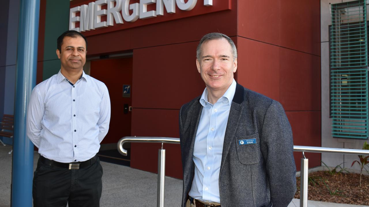 Dr Dilip Kumar and CQHHS CEO Steve Williamson at the opening of the new Gladstone Hospital emergency department on August 5, 2020.