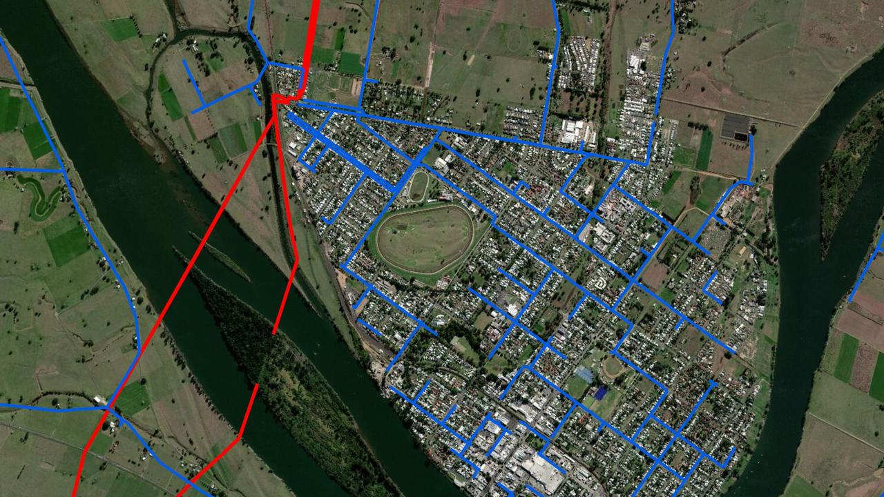 Look Up And Live website image shows the electricity network around Grafton