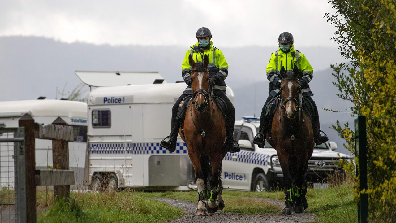 Mounted police search for missing teen William Wall in the Warburton area. Picture: Mark Stewart