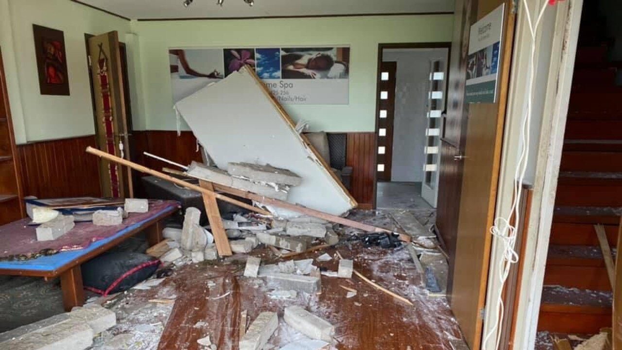 A car crashed into the home of Gerard and Tommy Groshens. Mrs Groshens runs the Thaisilk Home Spa, which the car crashed into it this morning.