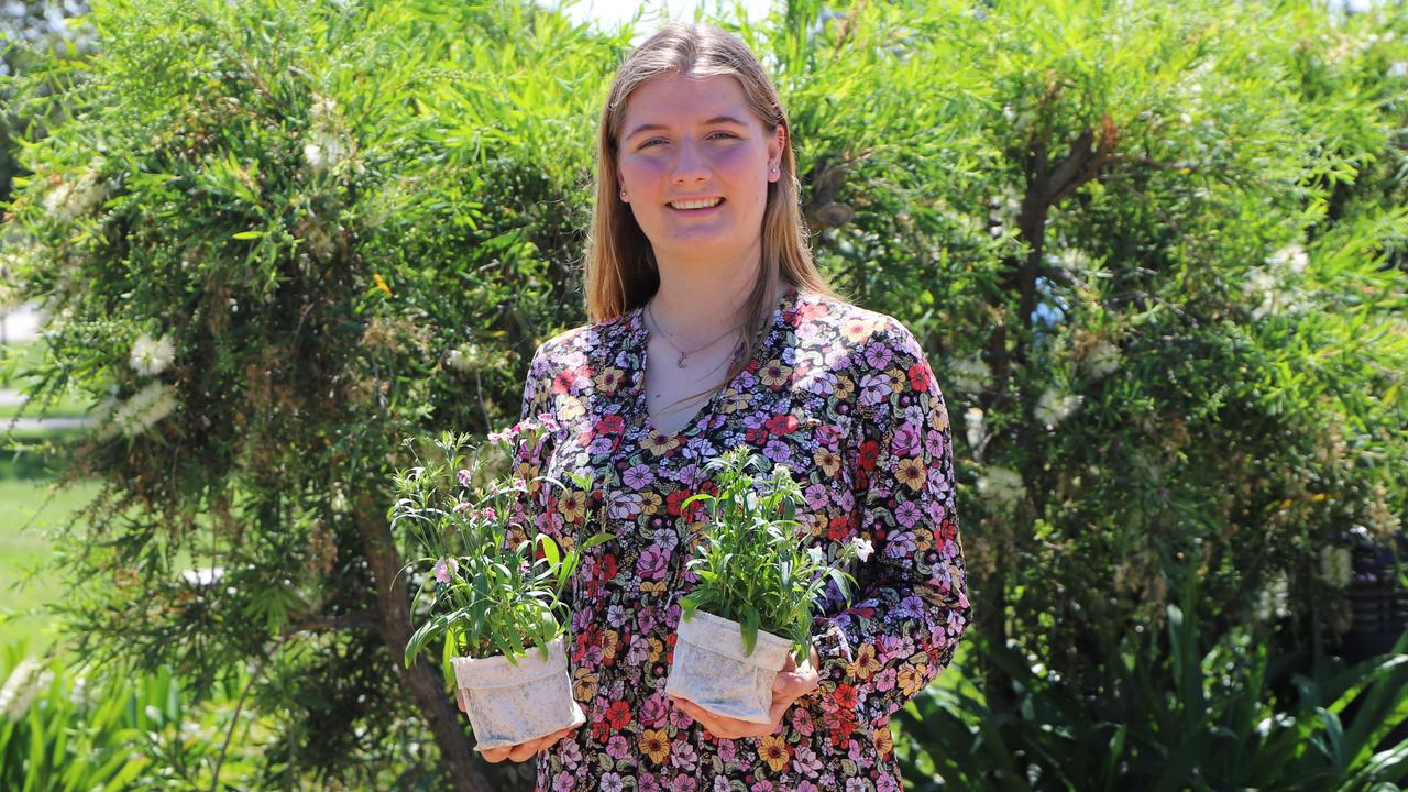 Unity College student Millie Gallacher, 16, has created a biodegradable pot plant product and taken out a statewide competition with her business idea. Picture: Supplied