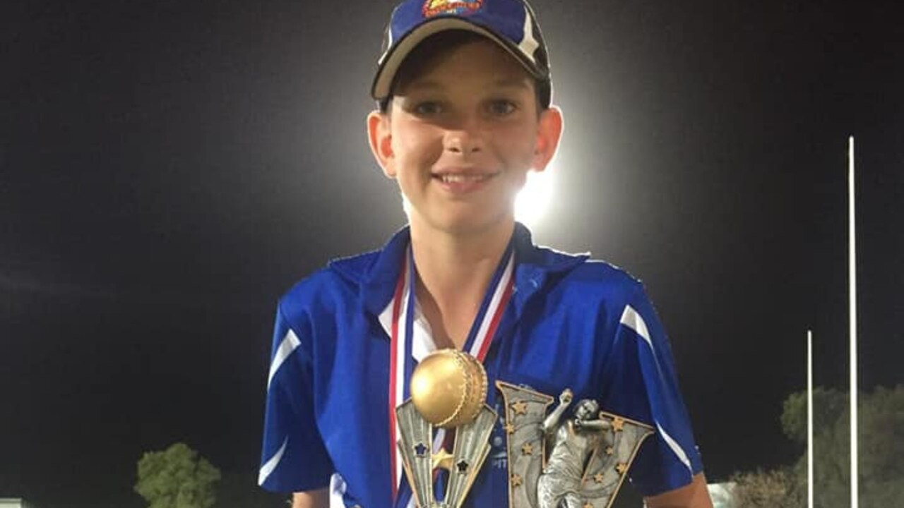 Proserpine cricketer Jackson Riley took home individual medals for bowling aggregate, batting average, batting aggregate and champion player from the Mackay Cricket end of season presentation. Photo: Contributed