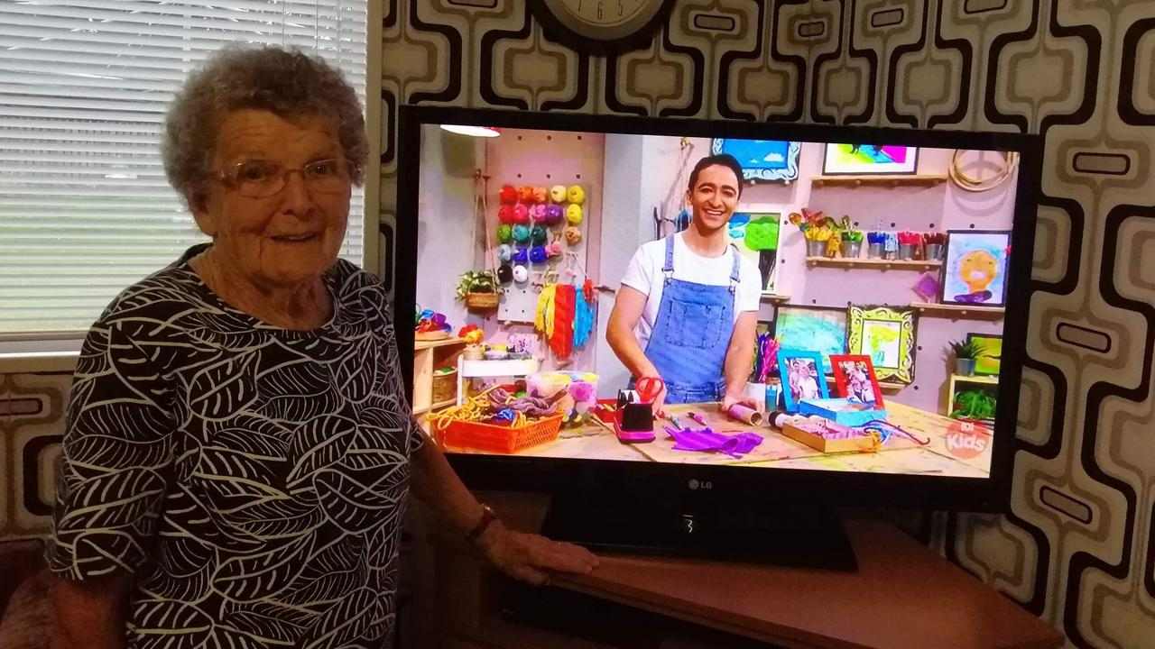 Maryborough's Majorie Byrne watching her grandson Matthew Backer in Play School. He was making toilet roll dolls out of his family members, including Majorie.