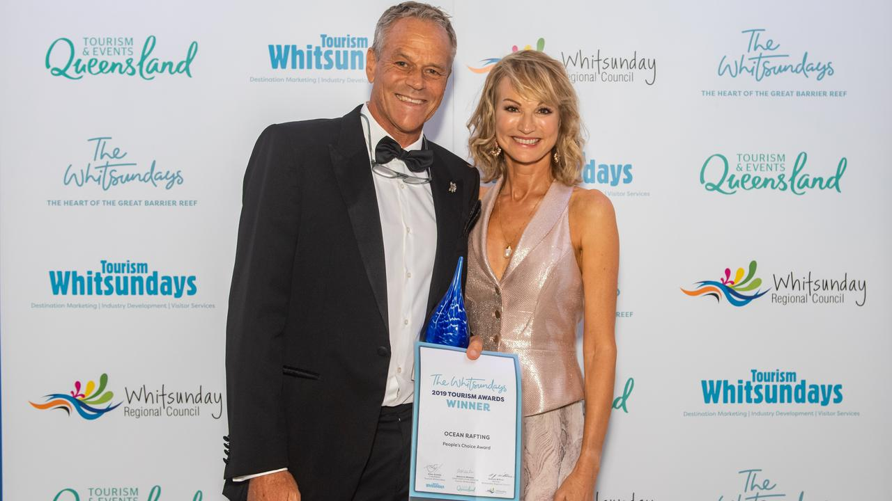 Peter and Jan Claxton, owners of Ocean Rafting, which took home the gold award in the Adventure Tourism category and the coveted People's Choice Award at the 2019 Whitsunday Tourism Awards.
