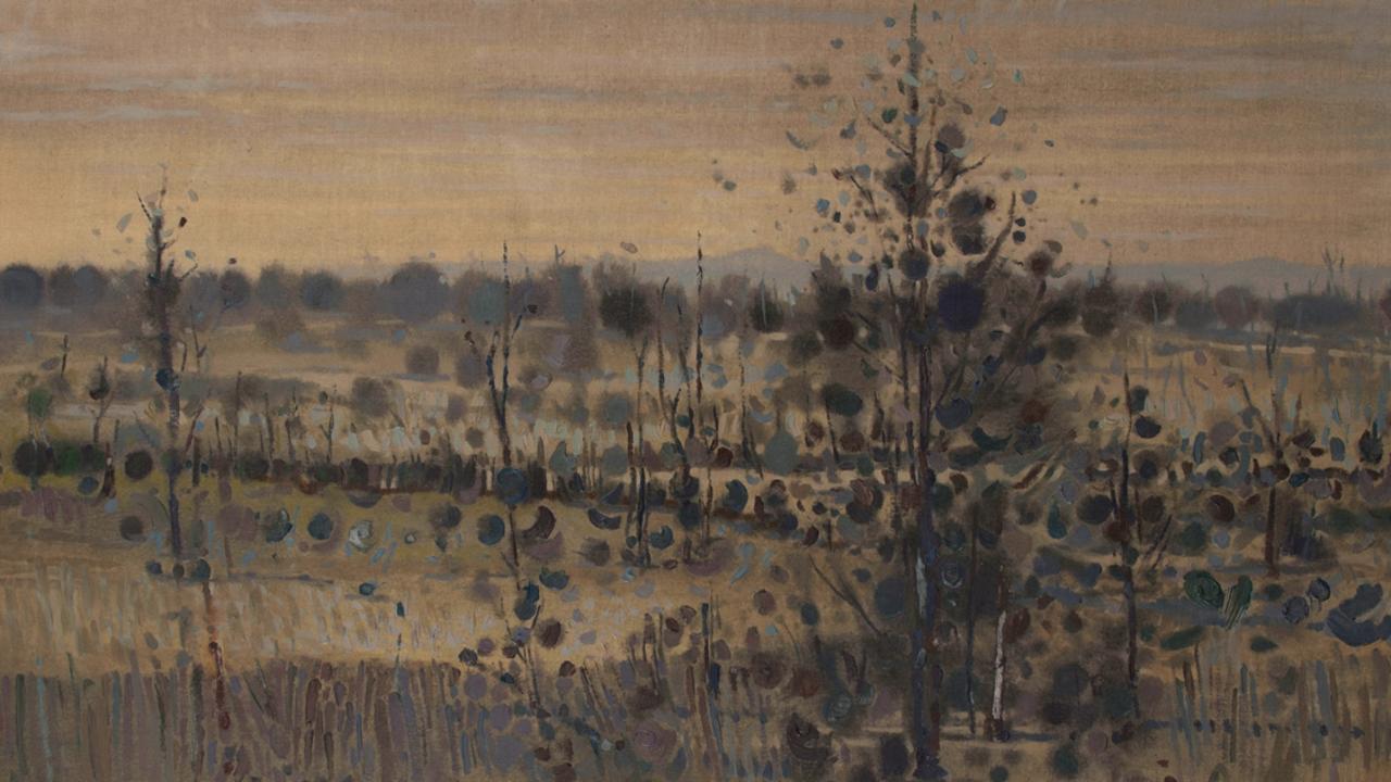 Clem (Clement) Millward (b. 1929), Blue-grey Landscape (Plumage) 1973, Oil on linen, 104 x 135 cm, Jacaranda Art Society Collection