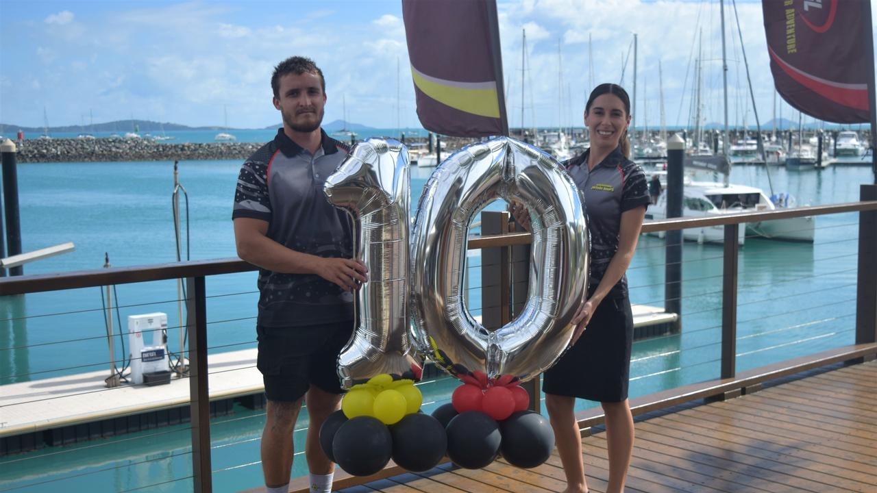 Raih Woodley and Hayley Moran celebrated Whitsunday Jetski Tours' tenth birthday. Photo: Laura Thomas