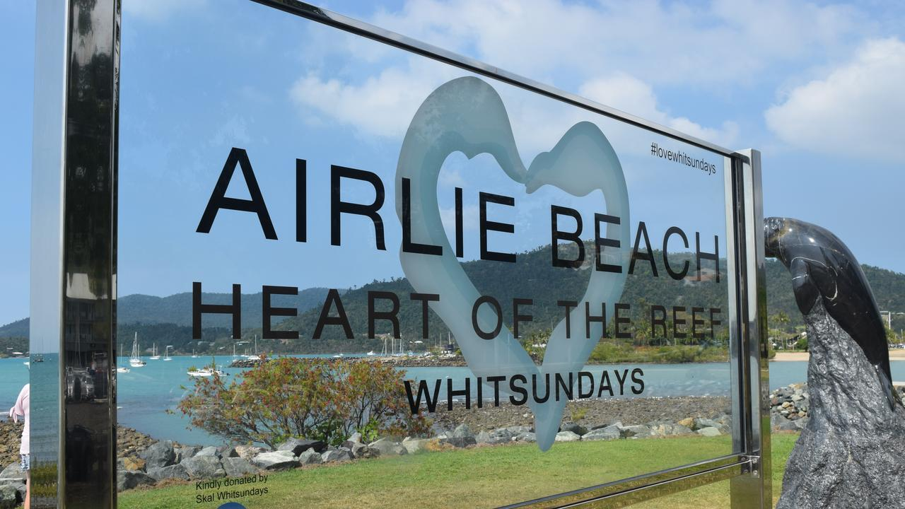 Organisers hoped the new sign would encourage people to share their photos of the Whitsundays on social media. Photo: Laura Thomas