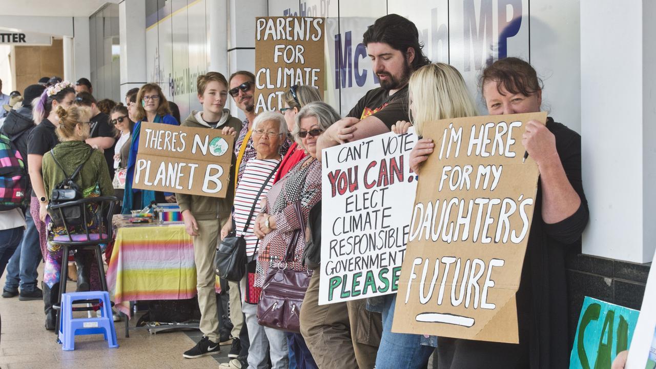 Climate change rally outside former MP John Mcveigh's office.