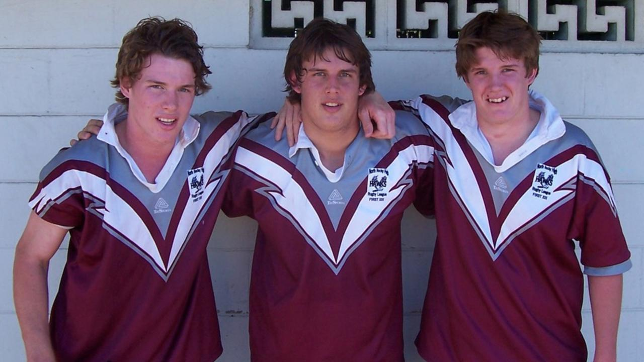 A young Tim Glasby (left) with brothers Will and Ben during their junior days with the Norths Knights.