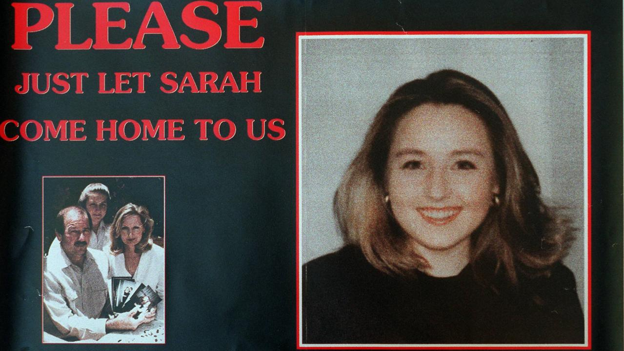 A poster of missing teenager Sarah Spiers.