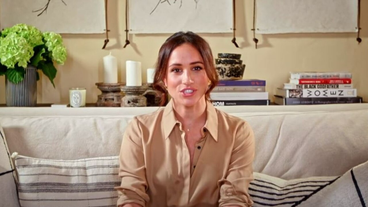 Meghan Markle dials in from home.