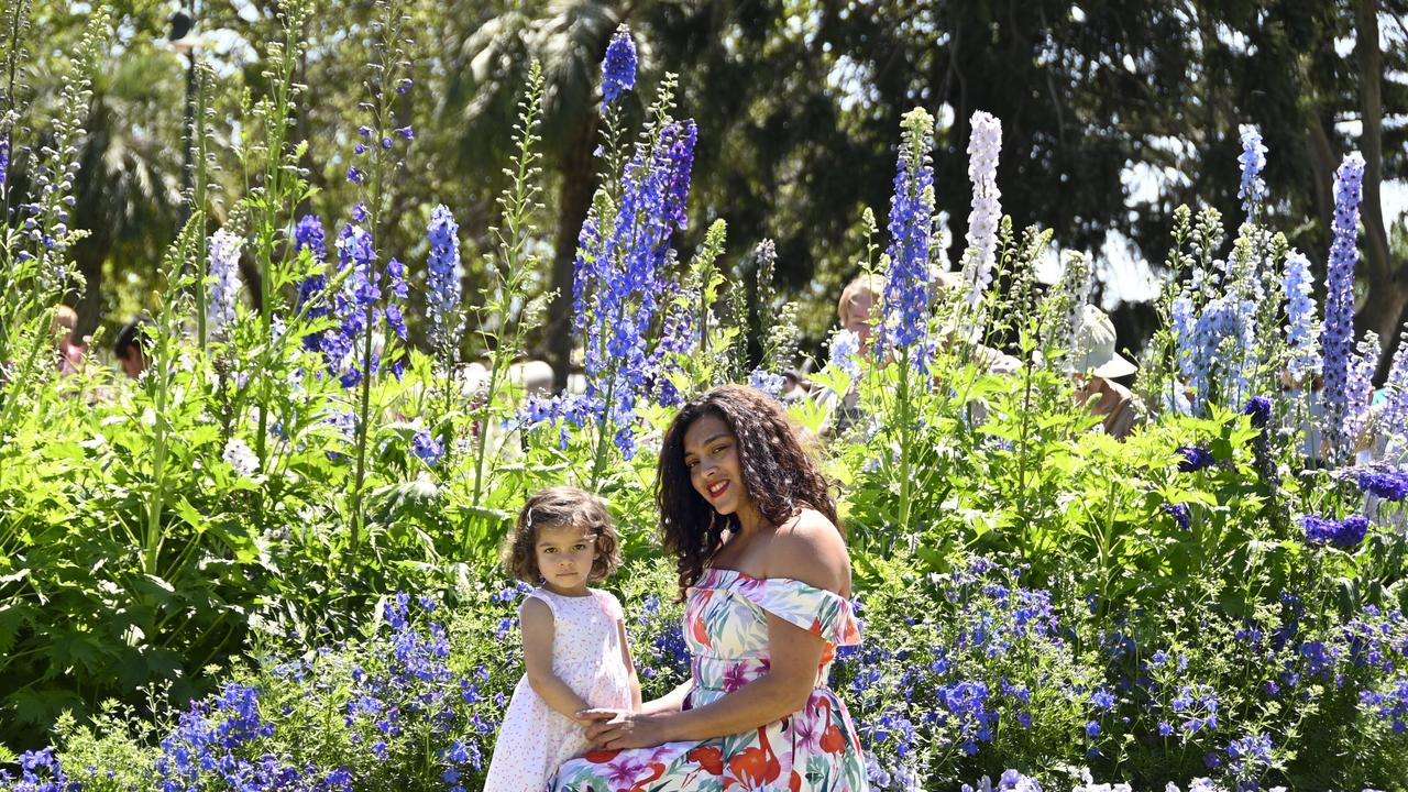Sarima Chong with her daughter Evie Norman, enjoy the colour of Queen's Park during the Carnival of Flowers.