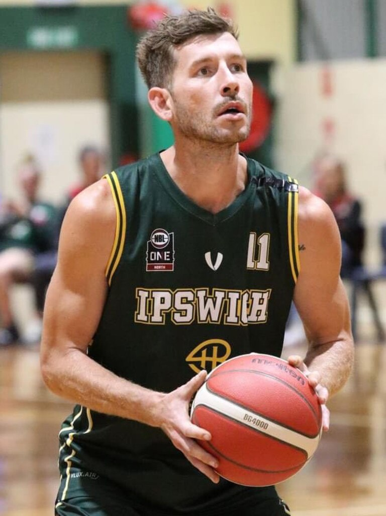 Ipswich Force basketballer Ryan Jeffries lines up his target during this year's QSL competition.