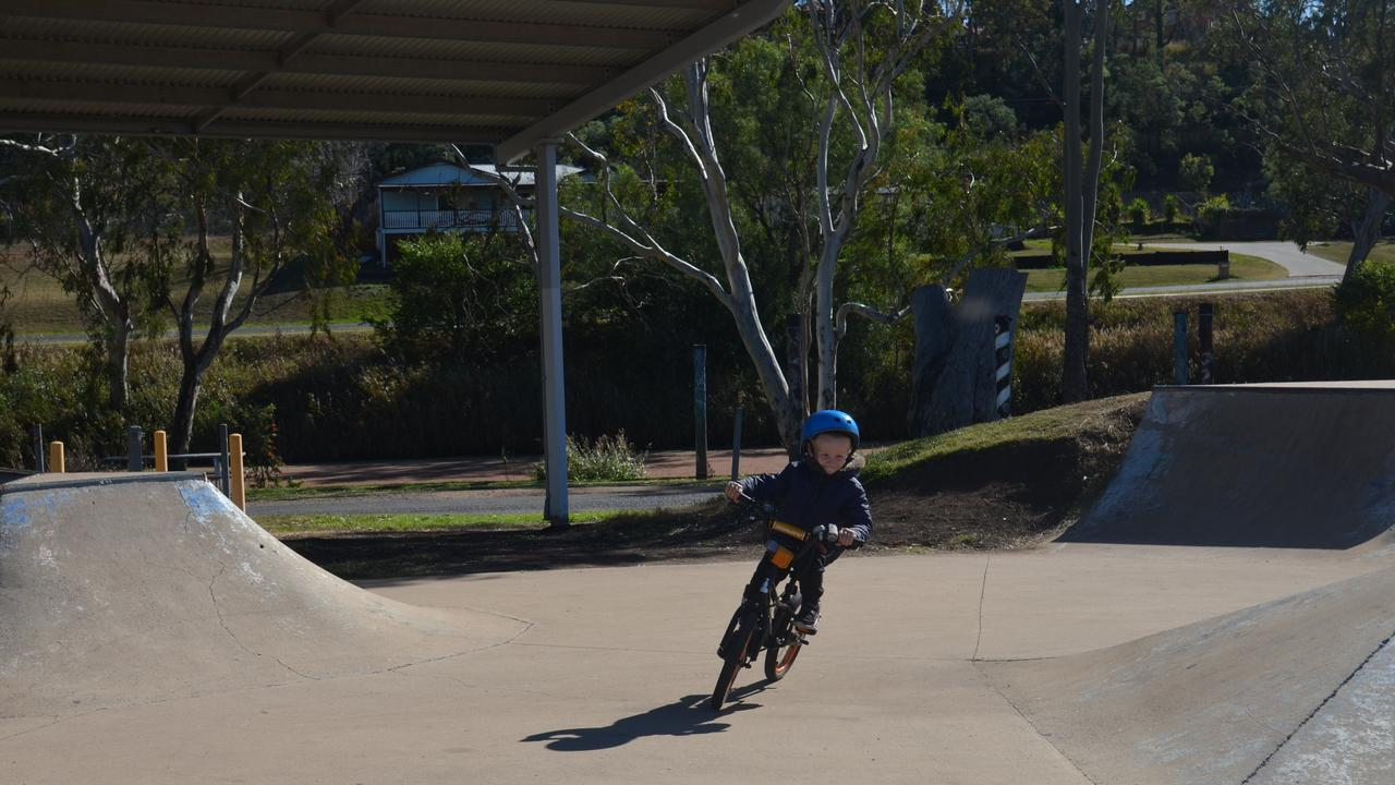 RIDING ON: Young Carlo Seitfer at Warwick skatepark. Picture: Jessica Paul