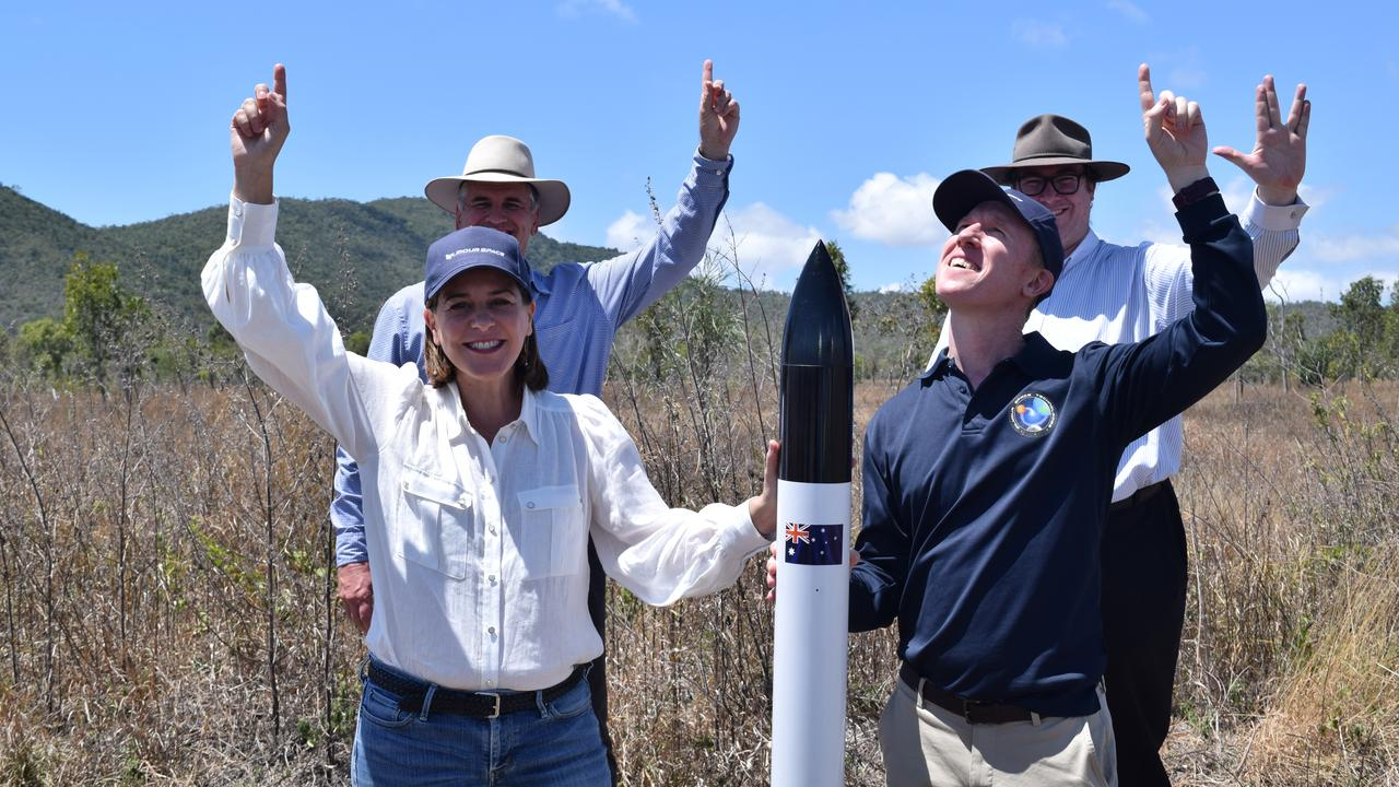 (From left) LNP Leader Deb Frecklington, Member for Burdekin Dale Last, Member for Dawson George Christensen and Gilmour Space Technologies co-founder and CEO Adam Gilmour with a replica rocket. The real thing will be 23m tall. Photo: Elyse Wurm