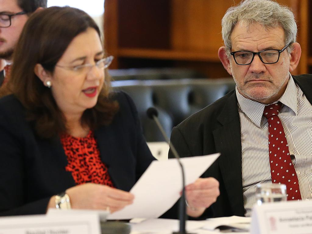 Chief of staff David Barbagallo with Premier Annastacia Palaszczuk at Estimates hearings last year