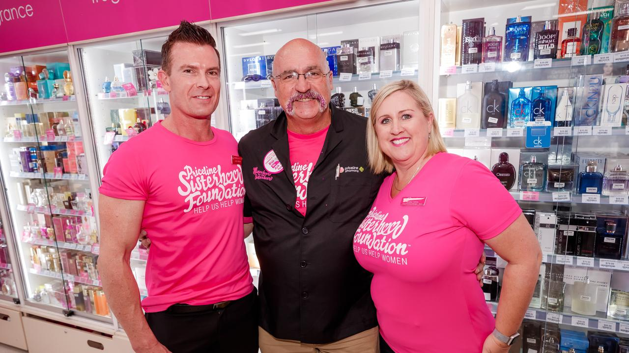 Merv Hughes (middle) with Priceline Pharmacy QLD State Manager, Justin Withers and Regional Business Manager Ainsley Carlow.