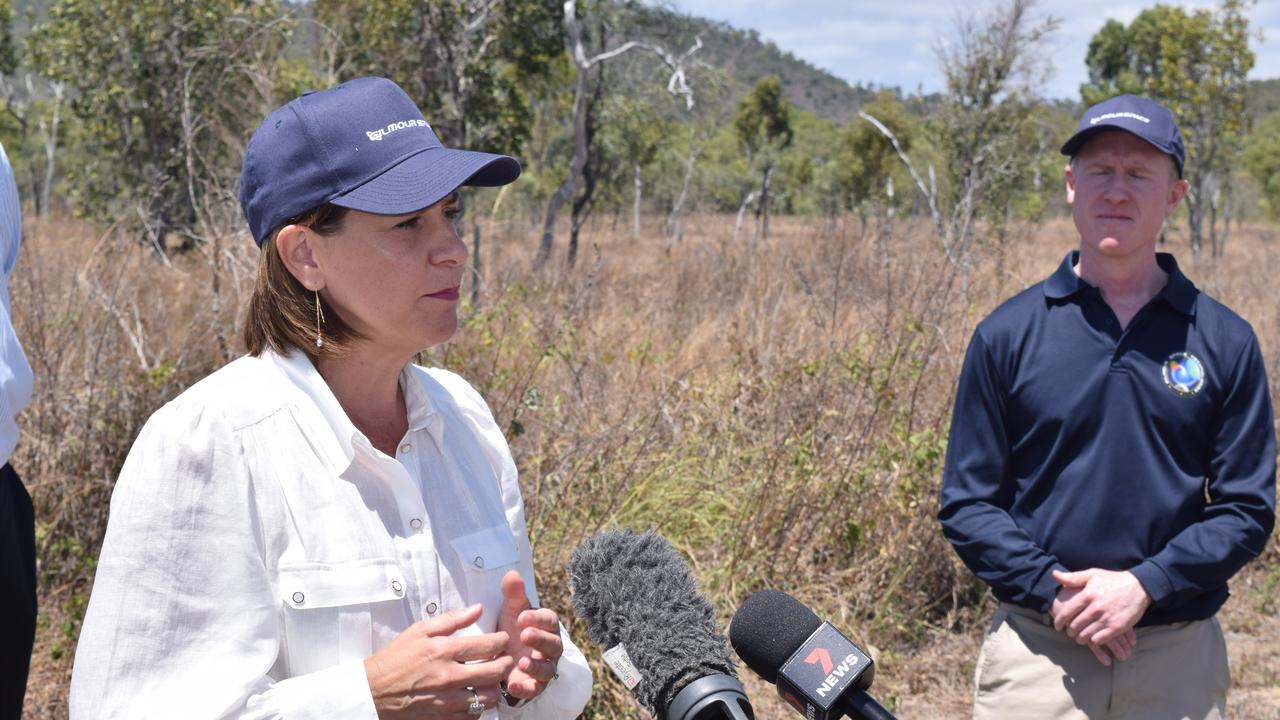 LNP Leader Deb Frecklington and Gilmour Space Technologies co-founder and CEO Adam Gilmour make the major announcement at Abbot Point.