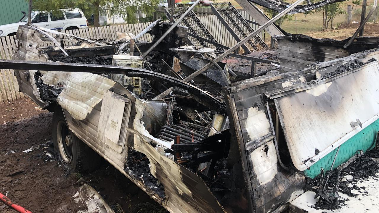 A male patient in his 40s was transported from the scene of a caravan fire, similar to this one in Kingsthorpe earlier this year.