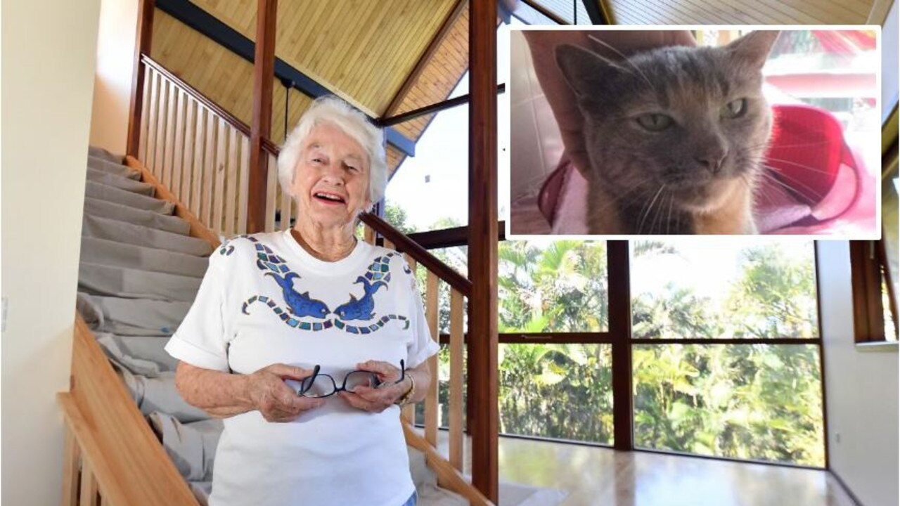 Pam Murphy, 90, the only person to lose her home in the Peregian fires, is close to moving in back home. INSET: Daisy the cat has emerged from living in the rubble of the Peregian fires.