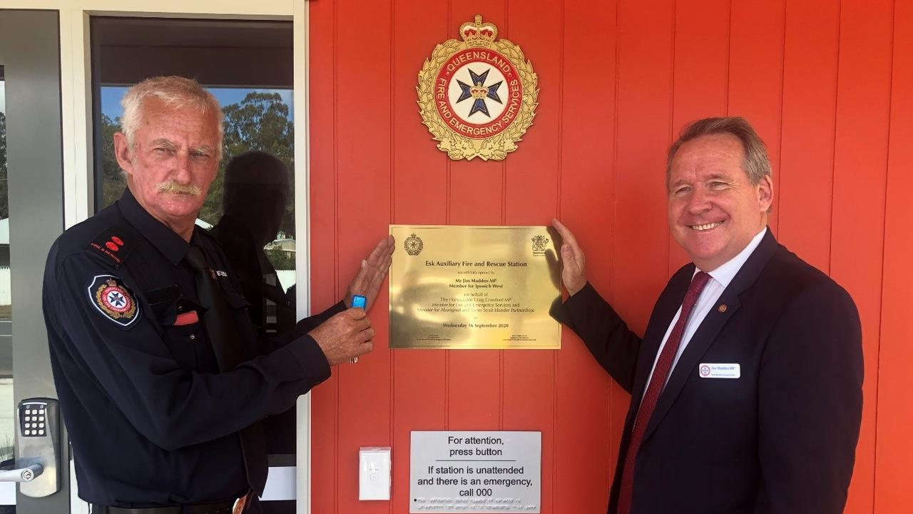Esk Fire and Rescue Station acting captain Denis Buckley with Ipswich West MP Jim Madden.