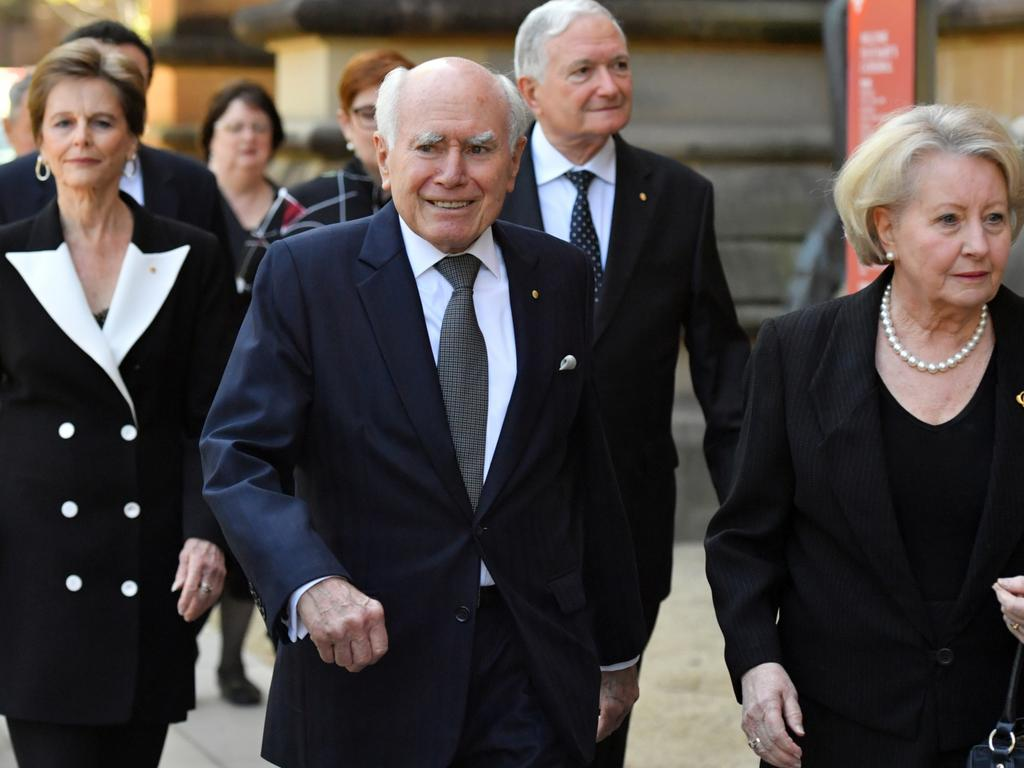 Former prime minister John Howard and wife Jeanette arrive. Picture: AAP