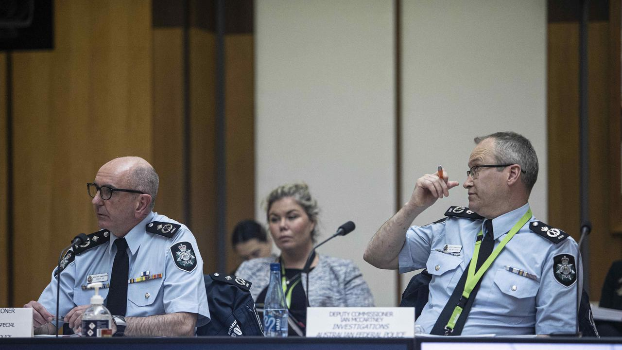 AFP counter-terrorism assistant commissioner Scott Lee and deputy commissioner Ian McCartney during hearing at Parliament House in Canberra. Picture: NCA NewsWire/Gary Ramage