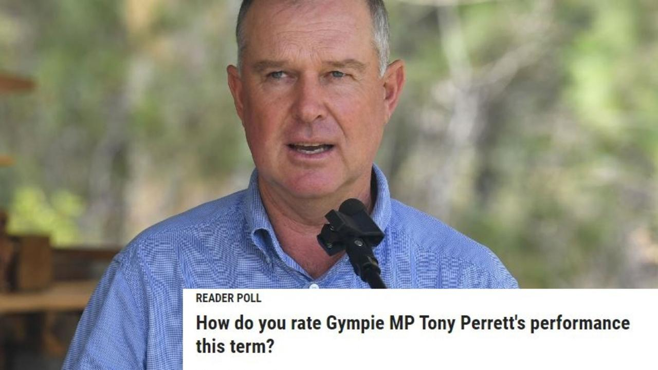 """Respondents to an online poll have rated Gympie MP Tony Perrett squarely in the middle of the road with a """"C""""."""