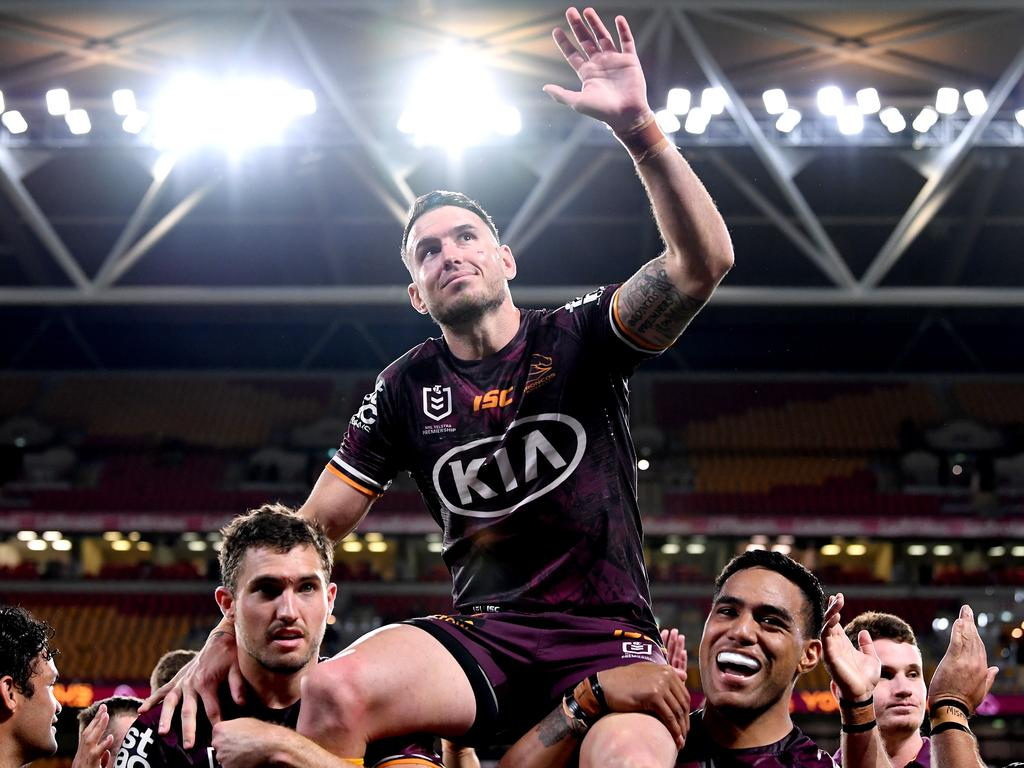 Darius Boyd of the Broncos is chaired from the field in his last ever NRL match. Picture: Bradley Kanaris/Getty Images