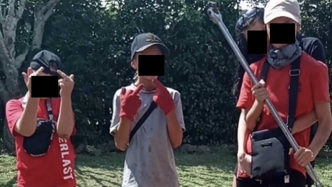Primary-school-aged kids pose for page that claims criminal links