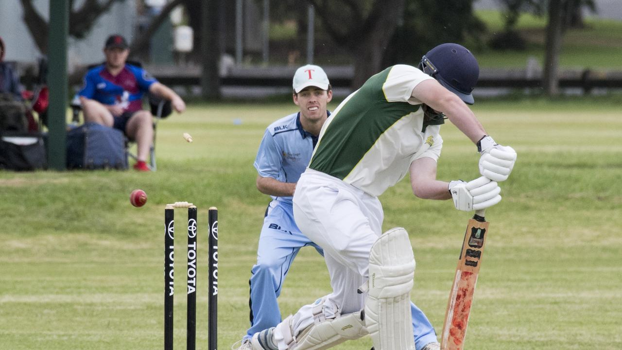 Gatton product Regan Hoger is bowled by Andre Odendaal during a Mitchell Shield match earlier this year. Hoger has been named in the new Darling Downs Suns squad.